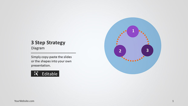 3 Step Strategy Ppt Diagram