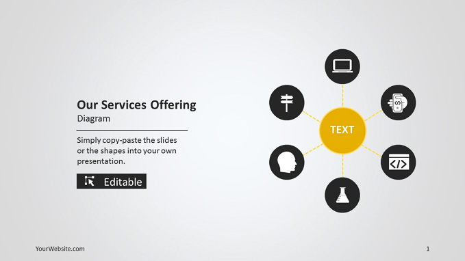 our services offering powerpoint diagram slide ocean
