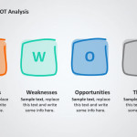 Flat SWOT Analysis PPT Diagram
