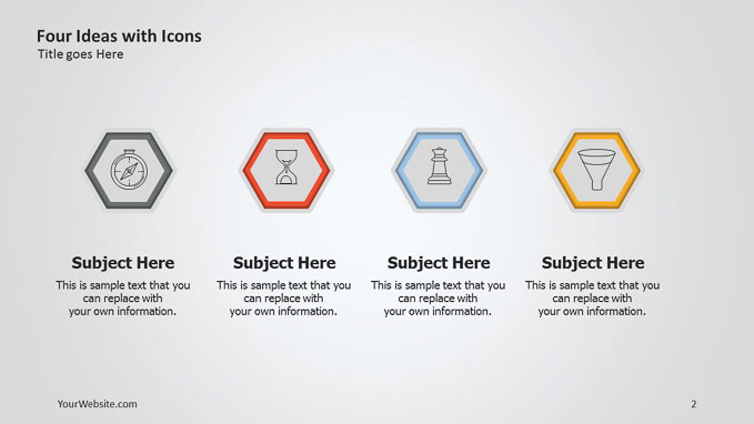 Four ideas with icons ppt diagram slide ocean slide2 1280 x 720 diagram light slides free powerpoint templates google slides template slideocean 2016 137g ccuart Choice Image