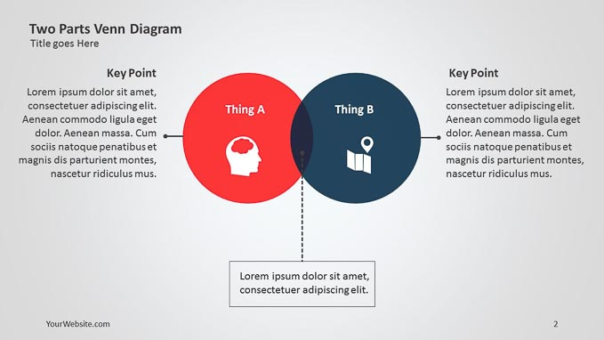 two parts ppt venn diagram - slide ocean, Powerpoint templates