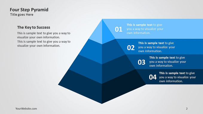 four step pyramid 3d ppt diagram slide ocean