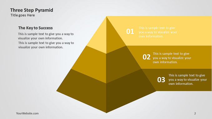 three step pyramid ppt 3d diagram - slide ocean, Powerpoint templates