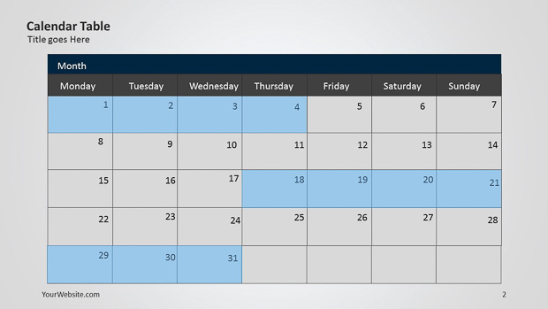 calendar powerpoint table slide ocean