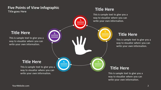 5 points of view ppt infographic slide ocean
